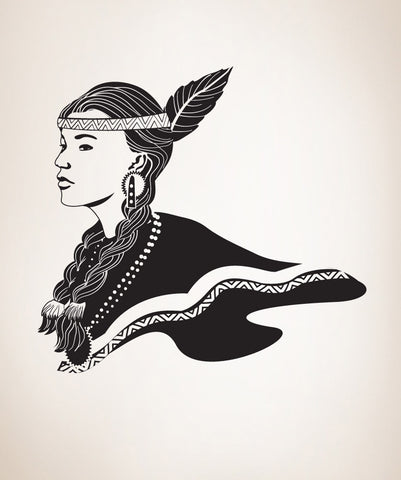 Vinyl Wall Decal Sticker Native American Girl #OS_DC291