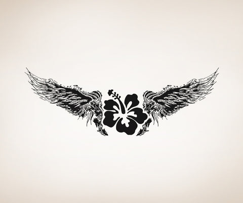 Vinyl Wall Decal Sticker Hawaiian Flower with Wings #OS_AA246