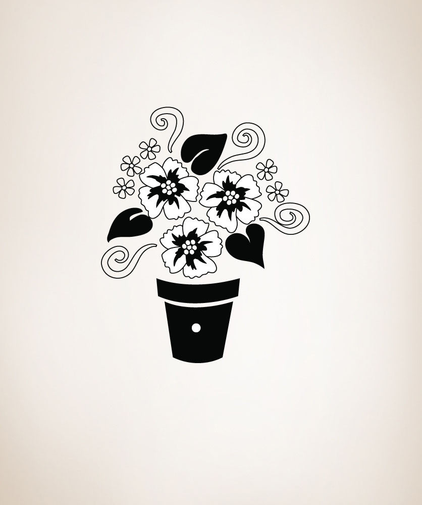 Vinyl Wall Decal Sticker Flower Pot #OS_DC206