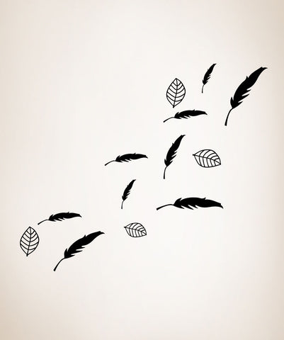 Vinyl Wall Decal Sticker Leaves and Feathers #OS_MG354