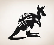 Vinyl Wall Decal Sticker Kangaroo Australian Flag #OS_AA472