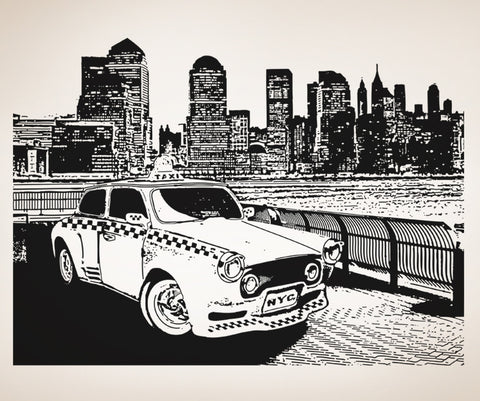 Vinyl Wall Decal Sticker Taxi in NYC #OS_AA565