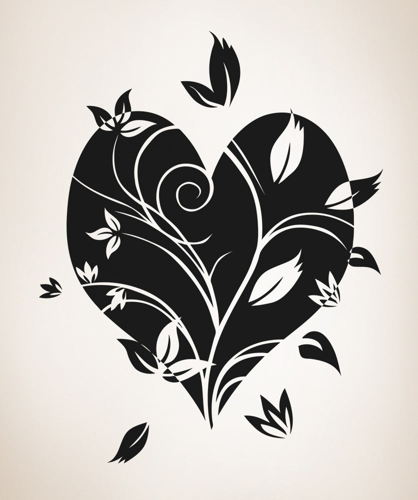 Vinyl Wall Decal Sticker Flower Heart #OS_AA360