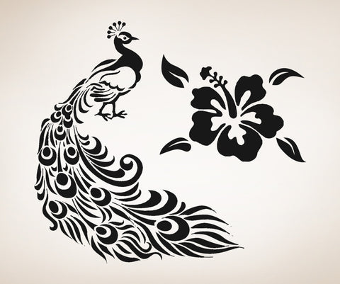 Vinyl Wall Decal Sticker Peacock and Hawaiian Flower #OS_AA281