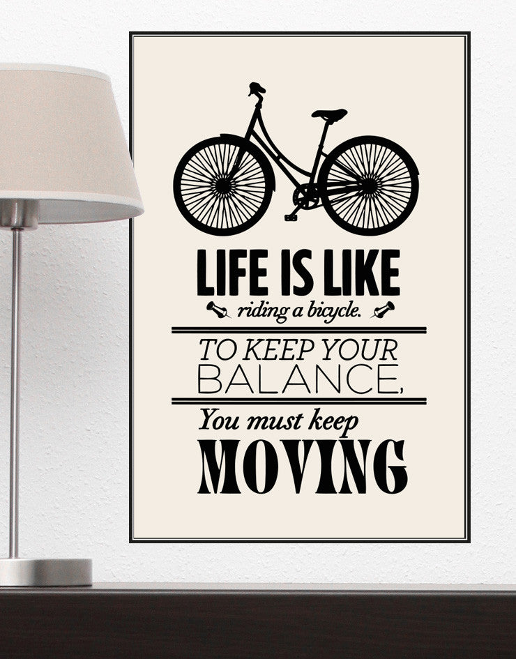 Motivational Quotes Life Is Like Riding A Bicycle Poster Q103