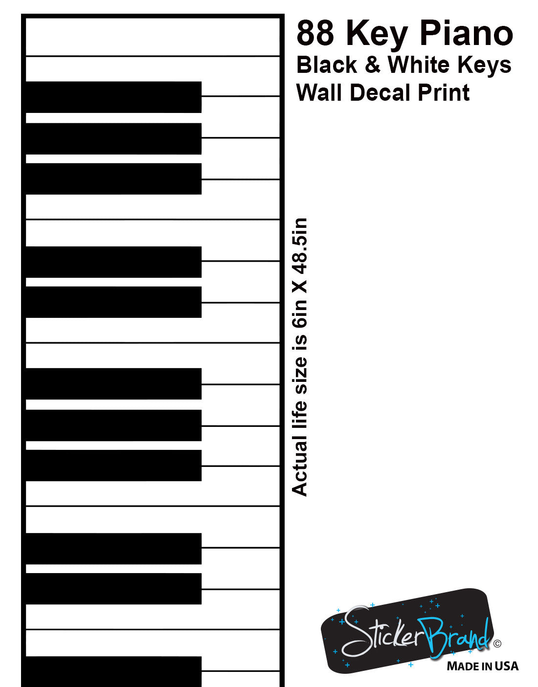graphic relating to Piano Key Stickers Printable identified as Piano Keys (88 keys) Black White Impression Wall Decal