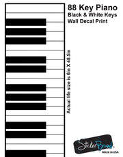 Piano Keys (88 keys) Black & White Graphic Wall Decal Sticker  #6026