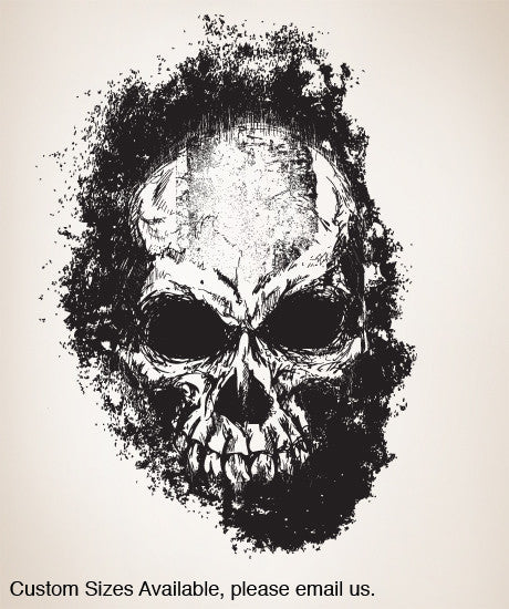 Vinyl Wall Decal Sticker Faded Skull through Wall #847
