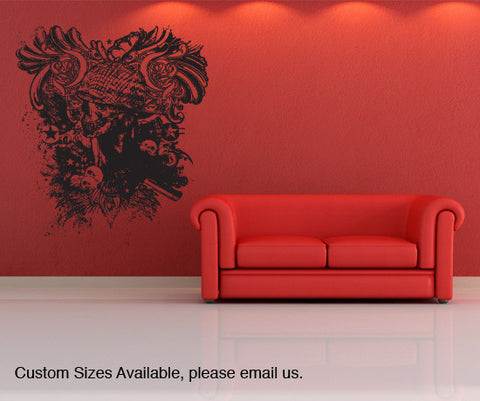 Vinyl Wall Decal Sticker Grunge Military Skull #846