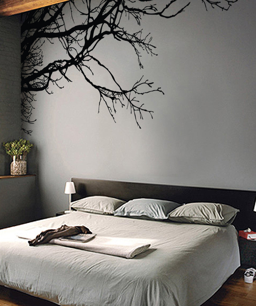d3ea79222498 Tree Top Branches Wall Decal. Corner Edge Application Decor. #444
