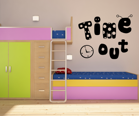 Vinyl Wall Decal Sticker Time Out Dancing Clock #OS_MG344