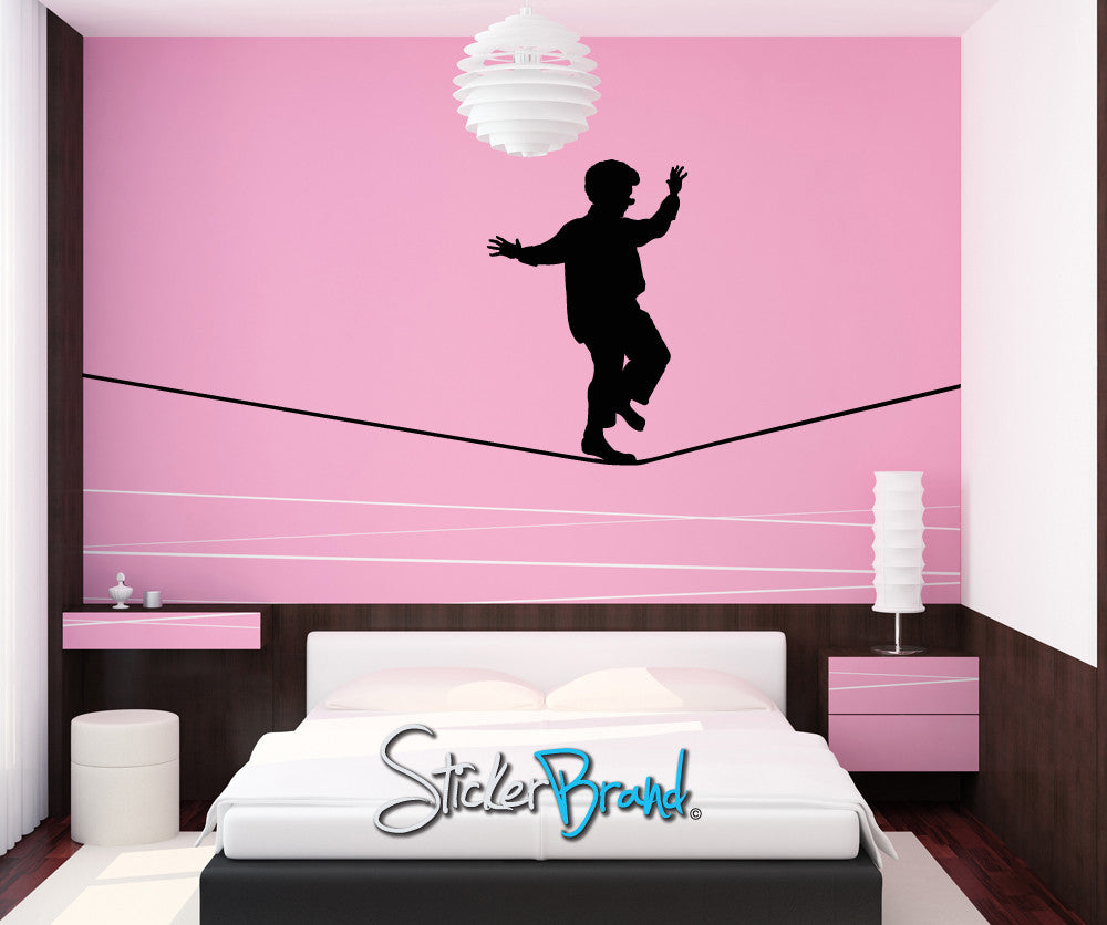 Vinyl Wall Decal Sticker Tight Rope Clown #OS_MB192