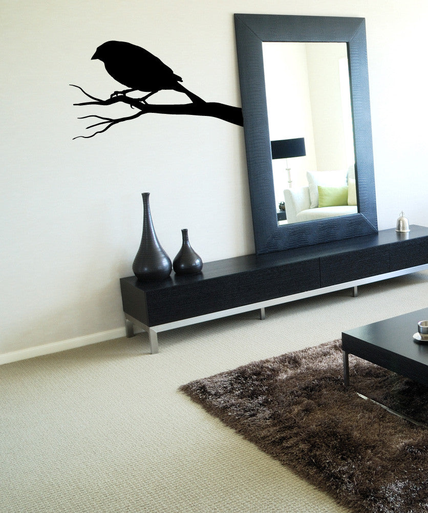 Vinyl Wall Decal Sticker Crow on a Branch #OS_MB650