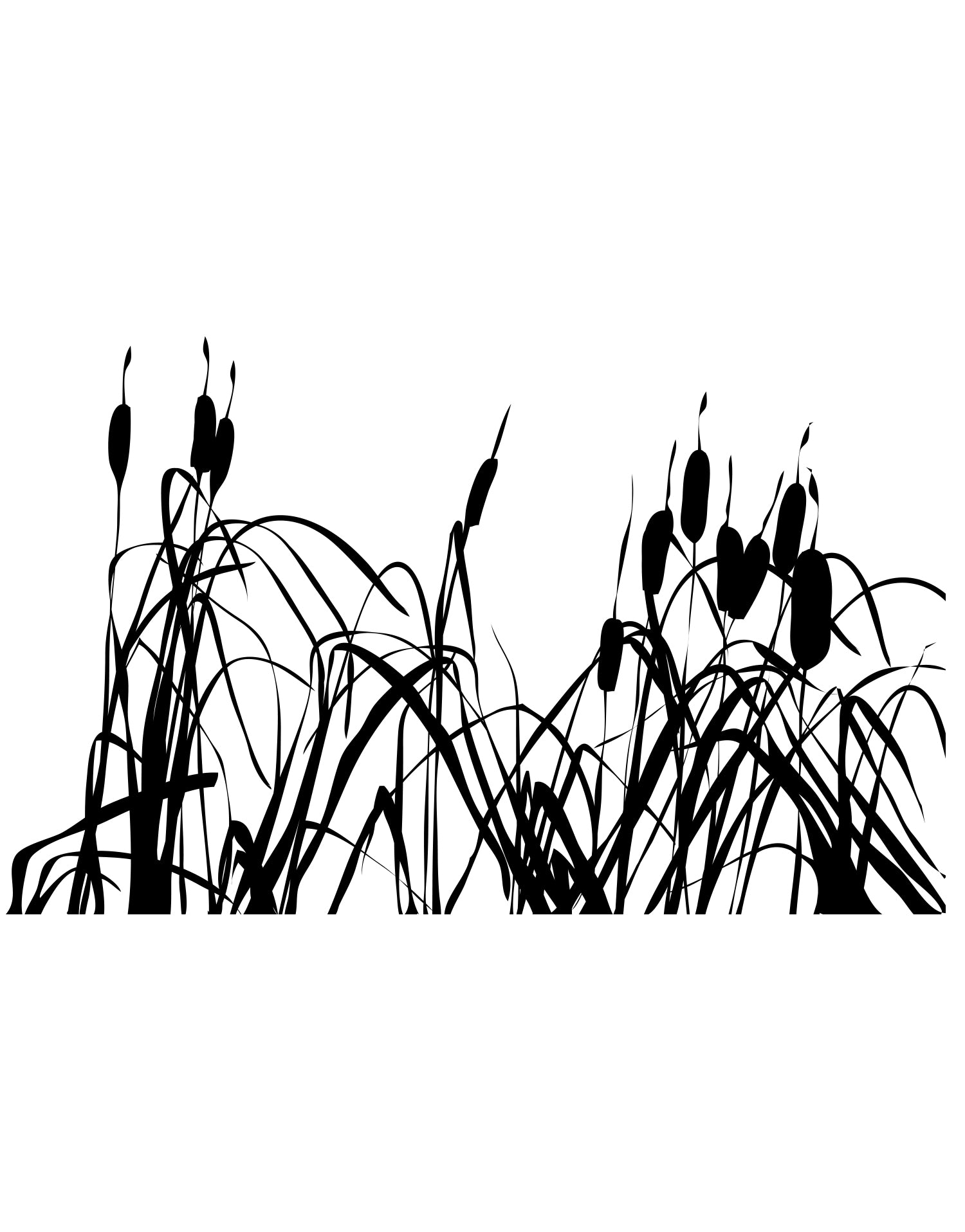 Cattails Bush Plant Wall Decal. #AC140