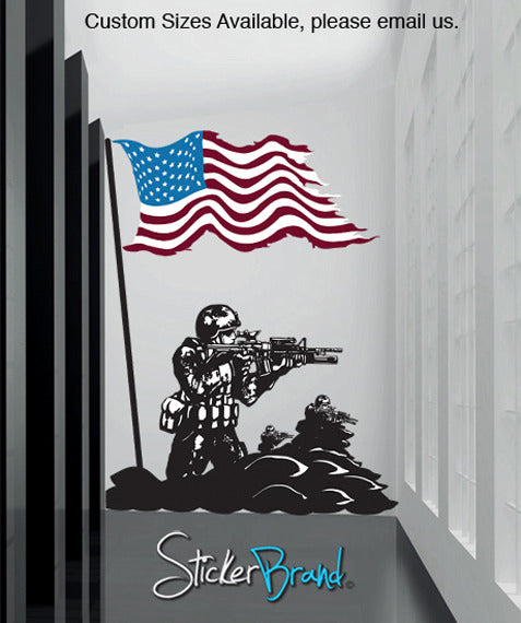 Graphic Wall Decal Sticker America Flag with U.S. Soldier #GFoster156
