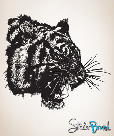 Vinyl Wall Decal Sticker Angry Tiger Growl #791