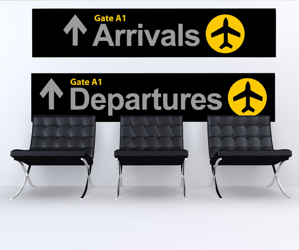 Airport wall stickers arrival departure sign stickerbrand for International wall decor