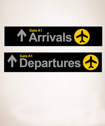 Wall Graphic Decal Sticker Airport Arrival Departure Sign #879