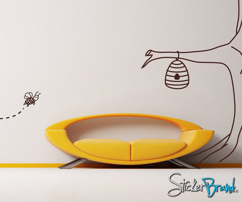 Vinyl Wall Decal Bee Tree #AFord103