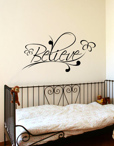 Vinyl Wall Decal Sticker Believe Spiritual Phrase #BHuey116
