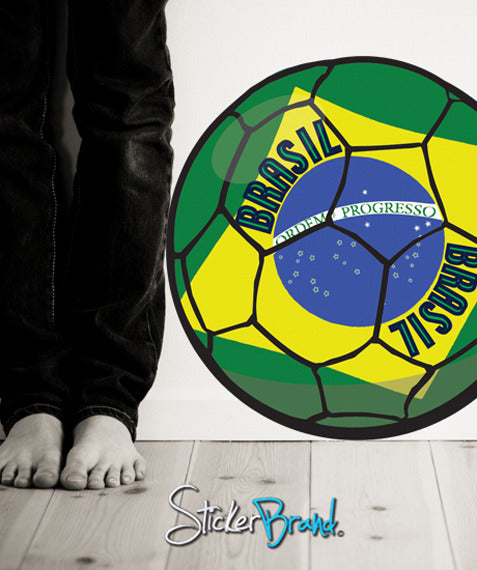 Graphic Wall Decal Sticker Football Soccer Brazil #JH132