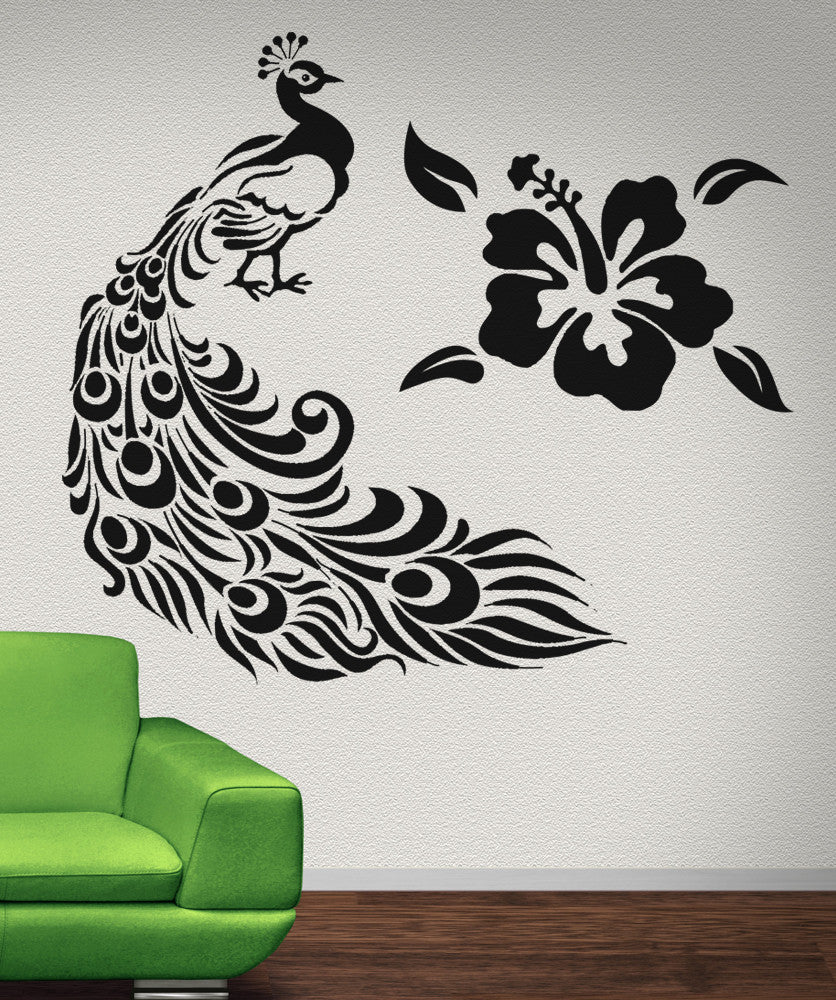 Vinyl wall decal sticker peacock and hawaiian flower osaa281 amipublicfo Images