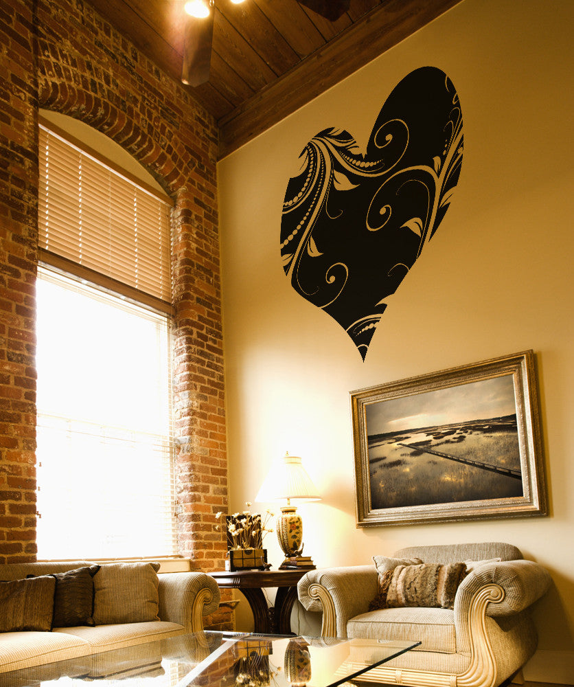 Vinyl Wall Decal Sticker Heart with Vines #OS_AA362