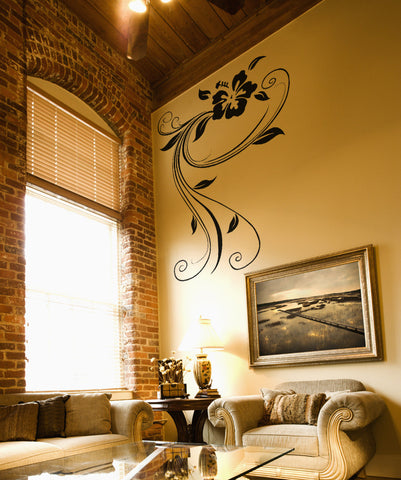 Vinyl Wall Decal Sticker Swirly Hibiscus #OS_AA377