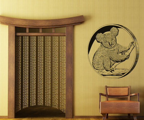 Vinyl Wall Decal Sticker Koala Coin #OS_AA482