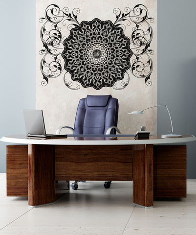 Vinyl Wall Decal Sticker Arabic Flower Circle Design #OS_AA347