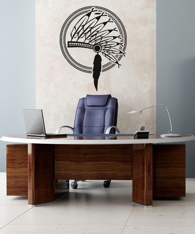 Native American Indian Headdress Vinyl Wall Decal Sticker. #OS_AA397