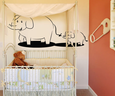 Vinyl Wall Decal Sticker Elephant Follow the Leader #OS_DC113
