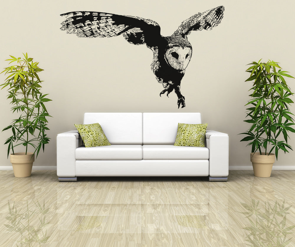 vinyl wall decal sticker australian owl flying os aa496. Black Bedroom Furniture Sets. Home Design Ideas