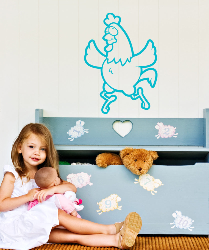 Vinyl Wall Decal Sticker Crazy Chicken #OS_AA608