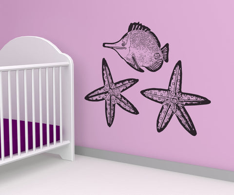 Vinyl Wall Decal Sticker Starfish and Fish #OS_AA283