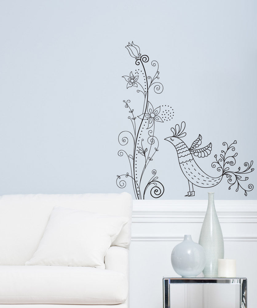 Vinyl Wall Decal Sticker Flower Bird Swirl #1005