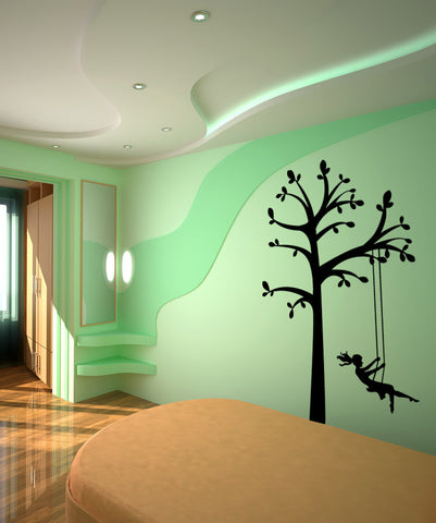 Vinyl Wall Decal Sticker Tree Swing #OS_MG449