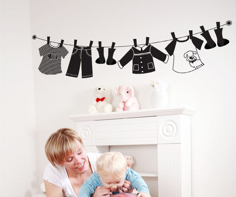 Vinyl Wall Decal Sticker Hanging Clothes #OS_DC111
