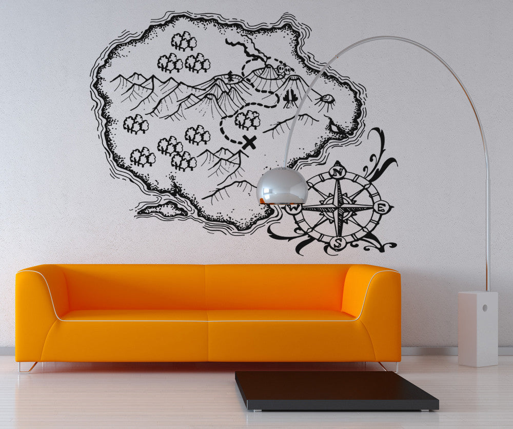 Vinyl Wall Decal Sticker Treasure Map Island #OS_AA402