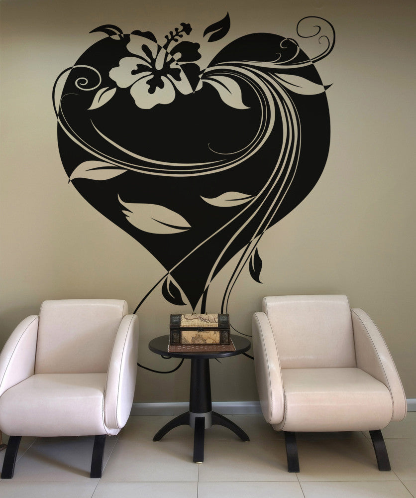 Vinyl Wall Decal Sticker Hawaiian Flower With Heart And