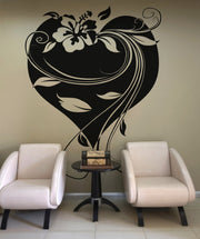 Vinyl Wall Decal Sticker Hawaiian Flower with Heart and Vines #OS_AA361