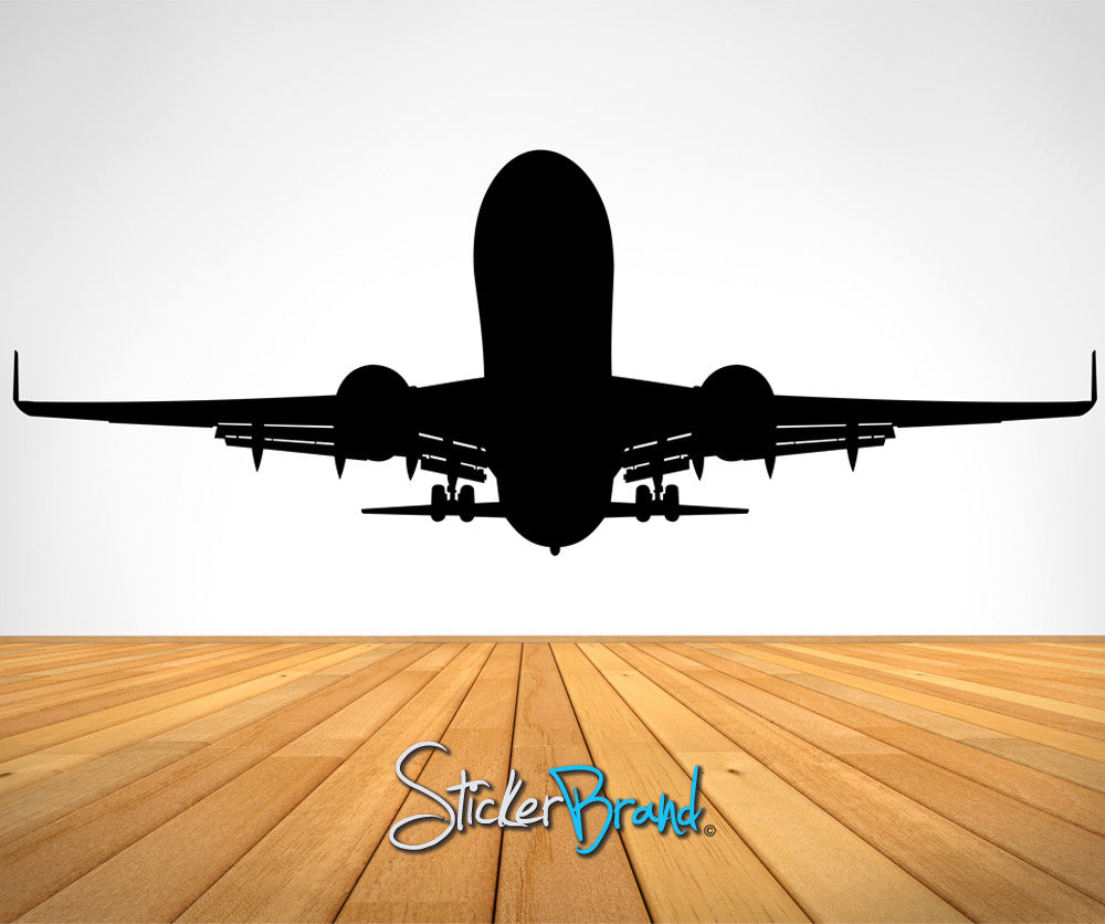 Vinyl wall decal sticker airplane taking off os es101 for Aeroplane wall mural