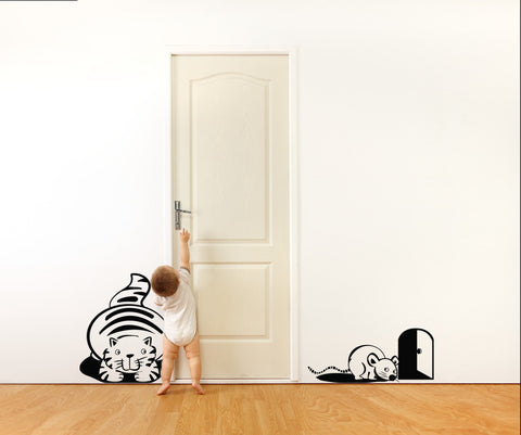 Vinyl Wall Decal Sticker Cat and Mouse #OS_DC202