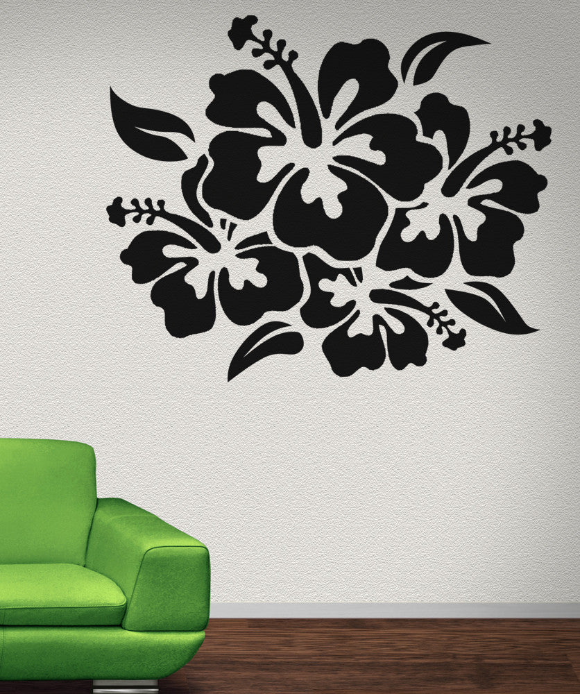 Hibiscus flower wall decal hibiscus wall stickers vinyl wall decal sticker hibiscus flowers osaa238 izmirmasajfo