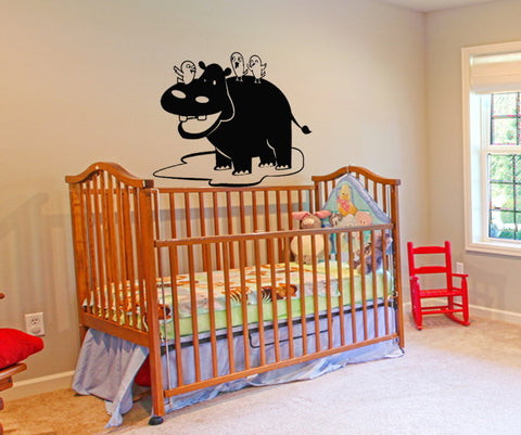 Vinyl Wall Decal Sticker Hippo with Birds #OS_DC115