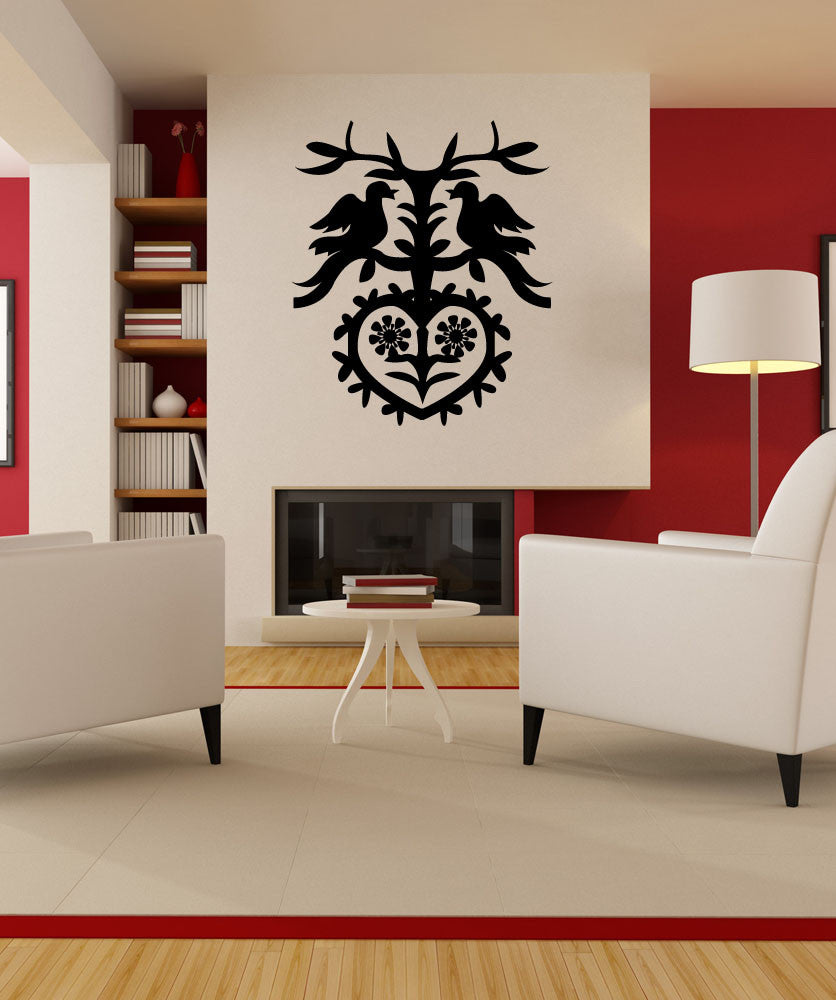 Vinyl Wall Decal Sticker German Art with Birds and Heart #OS_MG425