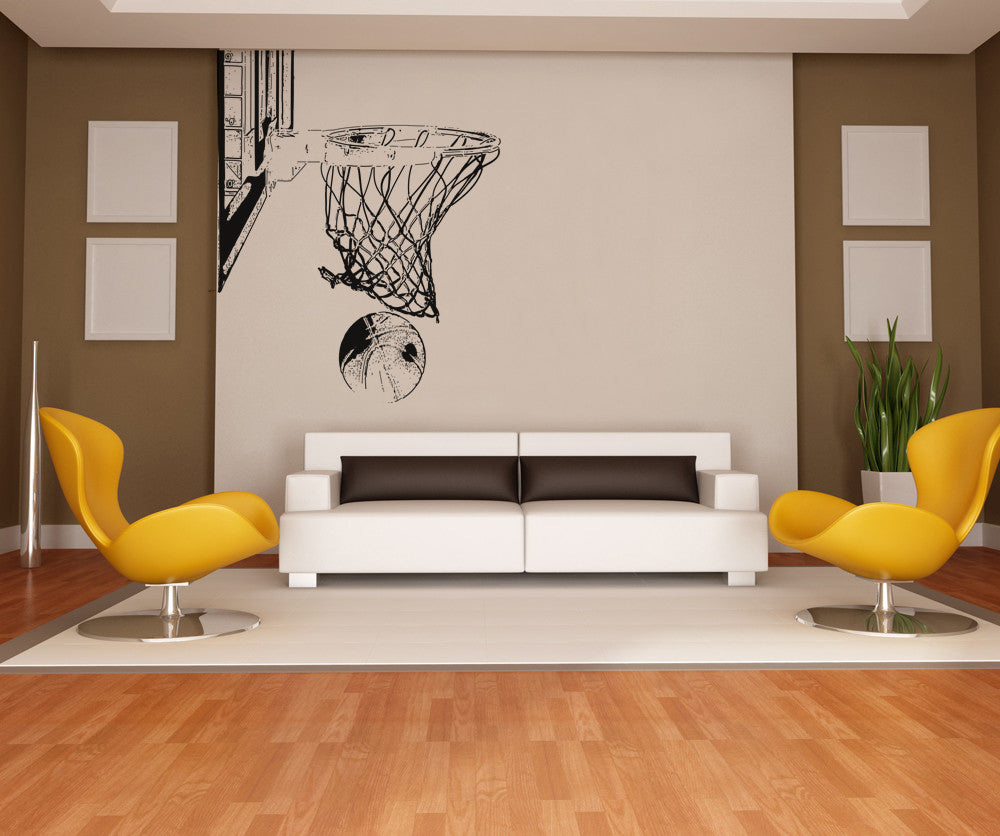 Vinyl Wall Decal Sticker Basketball Hoop And Ball Os Aa504