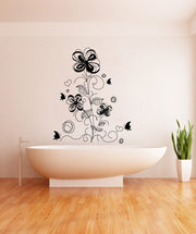 Vinyl Wall Decal Sticker Flower Butterfly Decoration #1009