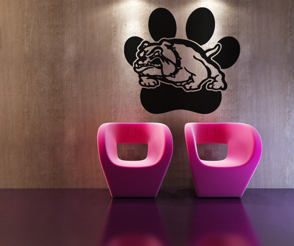 Vinyl Wall Decal Sticker Bulldog With Paw Print OSAA - How to get vinyl decals to stick to textured walls