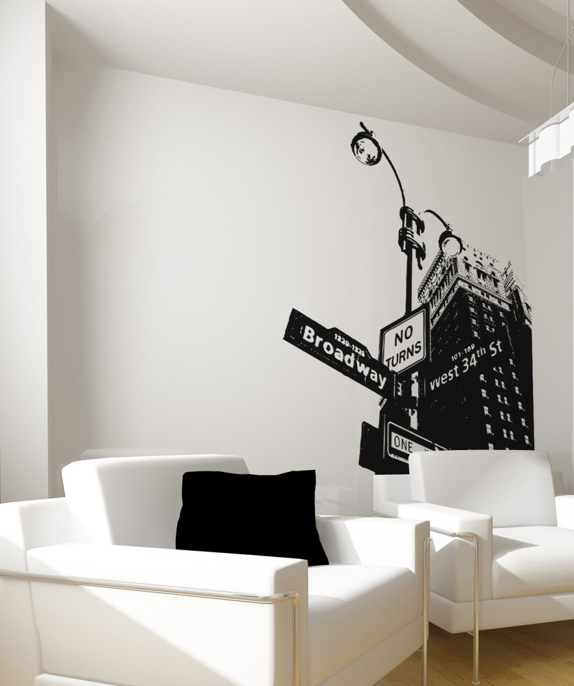Vinyl Wall Decal Sticker Corner Of Broadway Os Aa559